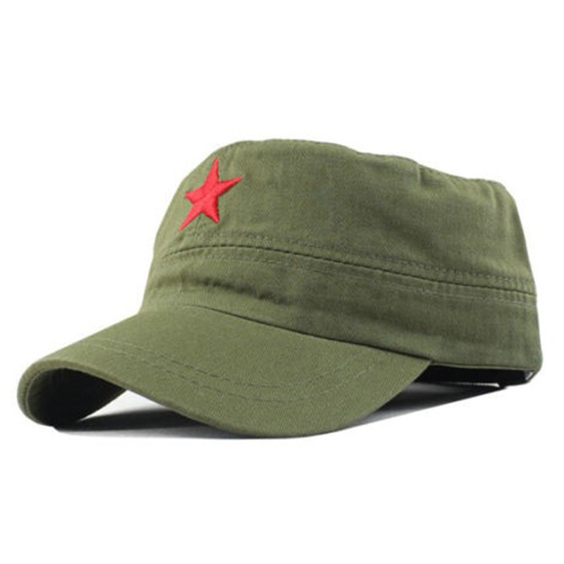 New Chinese Army Plain Men/'s Red Star Cadet Military Patrol Sun Visor Hat Cap