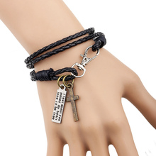 Leather Men Bracelet Jewelry Man Cross Bracelet Wristband Charm Braclet For Male Accessories Hand Cuff YW610