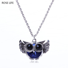 ROSE LIFE Women'S Fashion Retro Temperament Wild Big Owl Necklace Long Sweater Chain