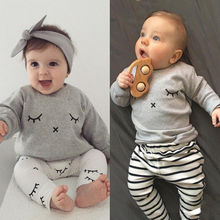 baby girl clothes 2017 spring fashion Infant clothes grey long sleeve Coat + white pants 2 pc Baby Boy Clothing Sets