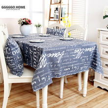 GGGGGO HOME,100% cotton canvas fabric words print Rectangular table cloth, kicthen table cover for Children's Room Dinner,002