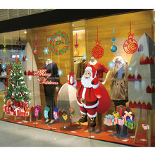 Large Santa Christmas Tree Wall Decals DIY Merry Christmas Wall Stickers Decorations For Home Shop Window