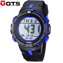 Top Brand OTS Digital Watches Men Watch sports Dive 50M Professional Waterproof LED large dial outdoor hours military Luminous