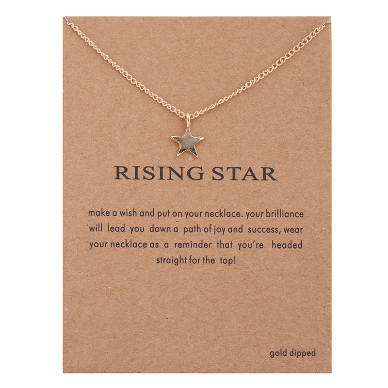 Hot Sale Sparkling full star gold-color Pendant necklace Clavicle Chains Statement Necklace Women Jewelry(Has card)