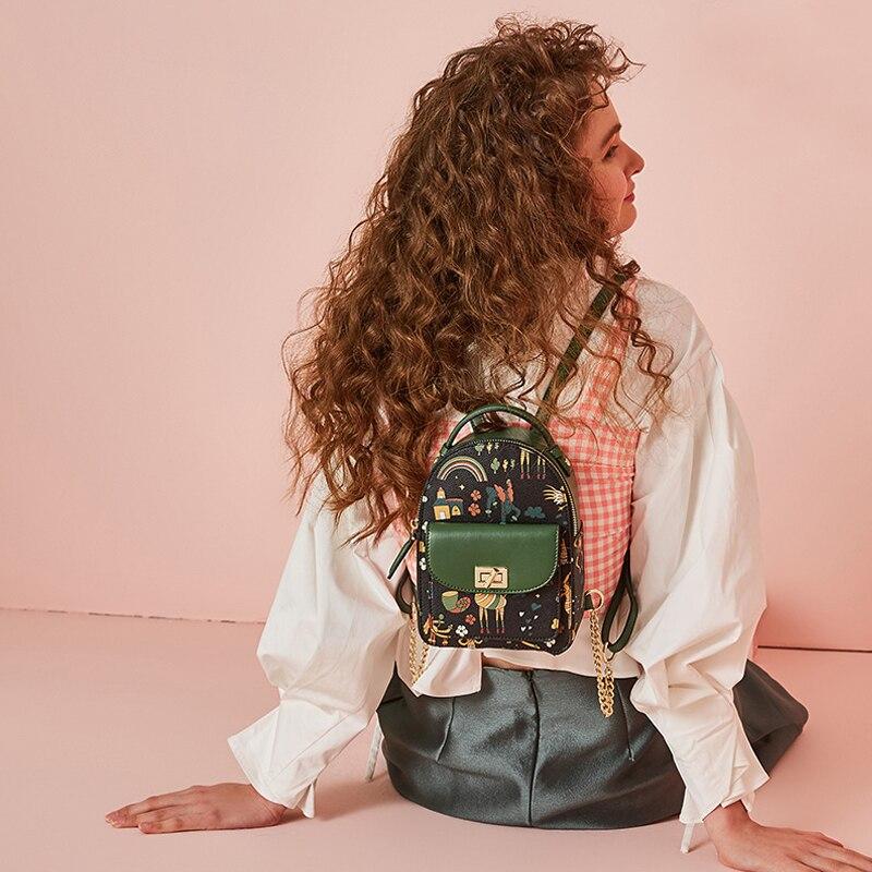 Original design brand 2018 new girls young lady cartoon printing schoolbag women backpacks teenage youth female small bag<br>