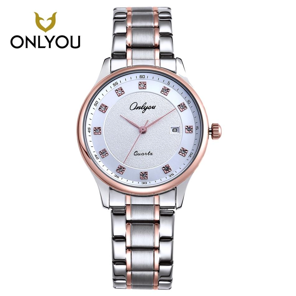 ONLYOU New Women Watch Gold Men Diamond Rhinestones Watches Men Top Brand Luxury Stainless Steel Clock Automatic Quartz watch <br>