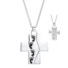 God Said On Back Footprints Cross Pendant Necklace Cool Silver Plated Prayer Cross Necklace Christian Jewelry For Kids