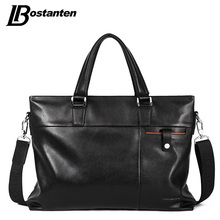 Bostanten Genuine Leather Men Briefcase Famous Brand Messenger Bag Leather Laptop Bag Causal Handbag Brief Case Men Business Bag(China)