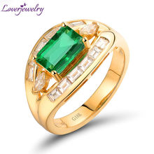 Hot! Unisex Solid 1.6ct 18kt Yellow Gold Diamond Emerald Wedding Ring For Sale WU162(China)