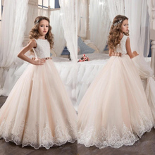 Champagne Flower Girl Dress 2017 ball gown Tulle Beaded Kid Evening Gown Pageant Dresses for Little Girls vestido daminha(China)