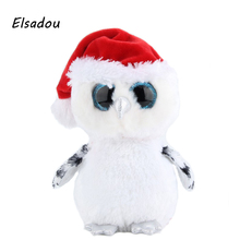 Elsadou Ty Beanie Boos Stuffed & Plush Animals Christmas Owl with Red Cap Toy Doll