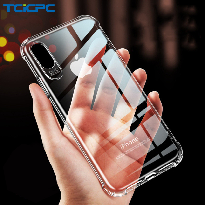 Phone Case For iPhone 5S 6 7 8 X Cases iPhone XR XS Max Cover Luxury TPU Transparent Soft Coque For iPhone 5 SE 7 8 Plus Fundas(China)