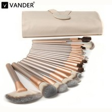 Vander 12/18/24pcs Luxury Professional Makeup Brushes Set Cosmetic Toiletry Kits foundation/powder/concealer/blending Champagne
