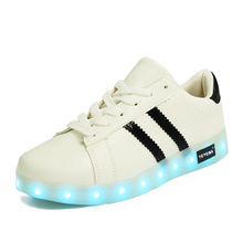 YPYUNA // USB Charger Lighted shoes for Boy&Girl glowing sneakers Kids Light Up Casual Luminous Shoes Sneakers with
