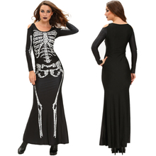 2017 Fashion Devil Evil Skull Skeleton Printing Long Dress Cosplay Costume for Halloween Party Festival Dresses Plus Size