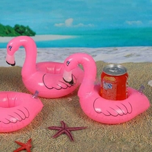 12Pcs/Lot Mini Cute Pink Flamingo Floating Inflatable Drink Can Holder Pool Bath Toy Pool Swim Ring Water Fun Pool Toys