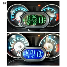sikeo Digital Monitor electronic Clock Auto Car Thermometer Battery Voltmeter Voltage Meter Tester Auto Gauge Clock(China)