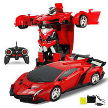 23cm Sports RC Car Models Deformation Robot Red Yellow Transformation Remote Control Car Toys Autobots Kids Gift