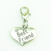 DIY Rhinestone Heart Best Friend dangle charm pendant alphabet lobster clasp charm with floating locket necklace jewelry(China)