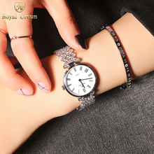 Ultra Thin Luxury Jewelry Lady Women's Watch Fashion Hours Dress Bracelet Rhinestone Gold Plated Girl Gift Royal Crown Box