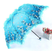 Women Sun Rain Umbrella Anti-UV Waterproof Parasol Folding Umbrellas Lovely Princess Sunshade Lace Umbrellas Guarda Chuva