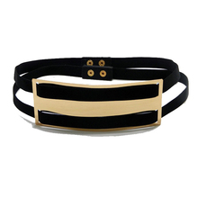 New Lady Designer Belts for Women wide Gold plate Black Elastic Belt button Cinturones Woman Dress belt bg-061