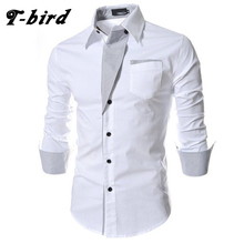 T-bird 2017 Dress Shirts Mens Brand Striped Shirt Cotton Slim Fit Chemise Long Sleeve Shirt Men Casual White Shirt Plus Size 3XL