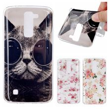 K7 Case Fashion Rose Cat Design Glossy Soft IMD TPU Back Cover Case for LG K7 X210 MS330 / Tribute 5 LS675 / M1 Phone Case