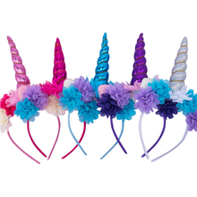 4pcs/lot Unicorn Horn with flower Unicorn Headband candy color Hairband Easter Bonus DIY Hair Decorative Accessoriess For Party(China)