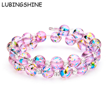 Buy LUBINGSHINE Beads Jewelry Pink Double Layer Glass Crystal Bracelets Bangles Rhinestone Cuff Bracelet Multilayer Bangles Women for $1.49 in AliExpress store