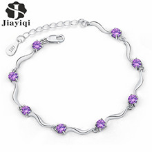 Fashion Exquisite Plated Silver Color Chain Link Bracelet for Women Purple White Shining AAA Cubic Zircon Crystal Jewelry 2017