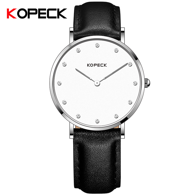 KOPECK Brand 6mm Super Slim Women Quartz Watches Leather Womens Wrist Watches Clock White Dial Elegant Ladies Watch Female<br>