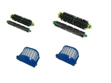 Aerovac Filter +Bristle Brush and Flexible Beater Brush for iRobot Roomba 500 Series robots with green cleaning head modules