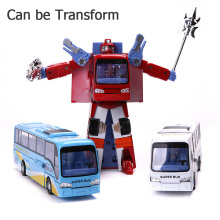 New Style Robotcar Robot Transformation Bus model Car Toys Alloy Deformation Police Robot Bus Toys For Kids children