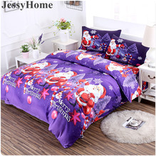 3D Merry Christmas Bedding Set Duvet Cover Purple Digital Transfer Comforter Bed Set Gifts USA Size Queen King