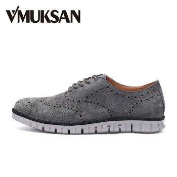 VMUKSAN Zapatos Casuales 2017 de Primavera de Cerdo de Los Hombres Atan para Arriba Oxfords Zapatos Alas Zapatos de Boda de Moda Para Hombre