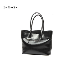 La MaxZa Cow Split Leather Women Top Handle Satchel Handbags High Quality Greased Leather Shoulder Bag Tote Purse(China)