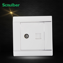 white RJ11 4P telephone female outlet and SYWV HDTV 55MHz-1000MHz tv wall switch socket