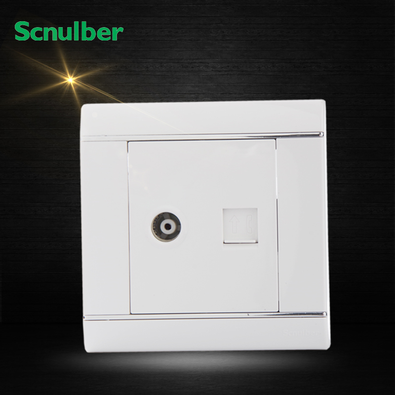 white RJ11 4P telephone female outlet and SYWV HDTV 55MHz-1000MHz tv wall switch socket(China (Mainland))