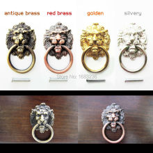 6Pcs Antique Brass Golden Vintage Bronze Metal Lion Head Furniture Door Cabinet Dresser Drawer Pull Handle Knob Ring(China)