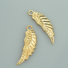 39*12mm Wholesale 40pcs Fashion Champagne Gold tone angel wings charms metal pendants for diy jewelry  A33106