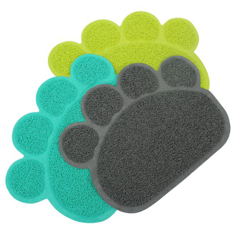 Cute Lovely PVC Dog Paw Shape Cup Placemat Pet Puppy Cleaning Feeding Dish Bowl Table Mats Pad Wipe Easy Cleaning(China)
