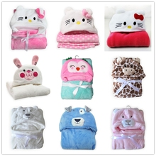 102*72CM hello kitty plush cape cartoon bear coral fleece hooded blanket kids travel use swaddle throw baby blanket