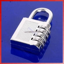 Solid 4 Digit Resettable Combination Lock Password Plus Padlock Silver 17B  wholesale/retail
