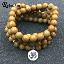 Ruberthen Vintage Women`s Bracelet Designer Mala Bracelet or Necklace Natural Serpeg Giante Ohm Jewelry Best Yoga Gift for Girl(China)