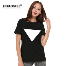 CHRLEISURE Triangle T Shirt Big Size Women Black White Tops Classic Graphic Printing Summer Tee Shirt Top Femme Couple Clothes(China)