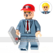 Single Sale Super Heroes WM224 Donald John Trump With Red Color Hat Bricks Building Blocks Education Children Gifts Toys(China)