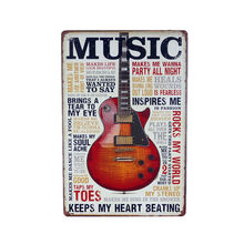 2017 LOVE Guitar Music Tin Plate Metal Signs Art Poster Cafe Bar Pub Vintage Painting Wall Stickers Home Decor Plaque 30x20cm