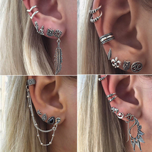 7Pcs/Lot Boho Style Tibetan Silver Top Tragus Piercings Hoop Helix Cartilage Tragus Daith Earring Studs Piercing Silver Jewelry