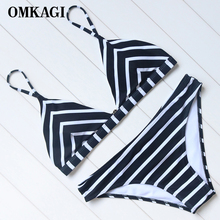 Buy OMKAGI Brand Striped Bikinis Set Swimsuit Swimwear Women's Swimming Suit Beachwear Sexy Push Bathing Suit Bikini 2018